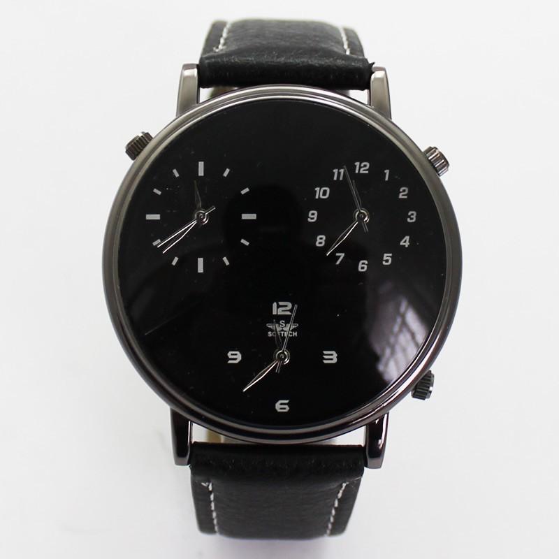 Softech Mens Tri-Dial Watch - Black