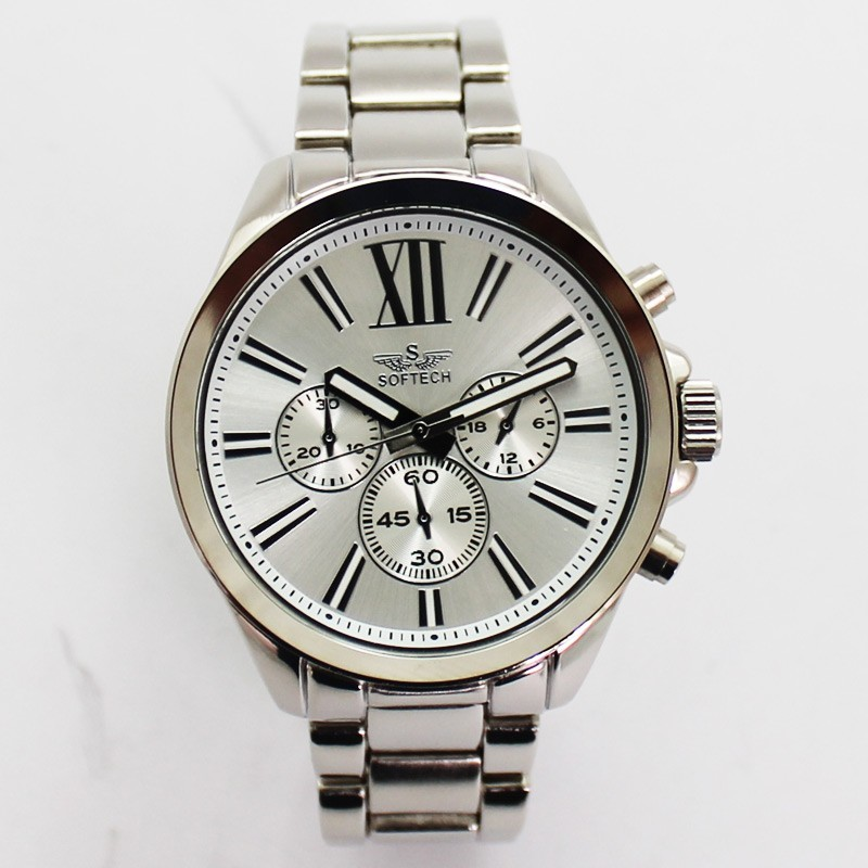 Softech Mens Roman Numerical Dial Watch - Silver