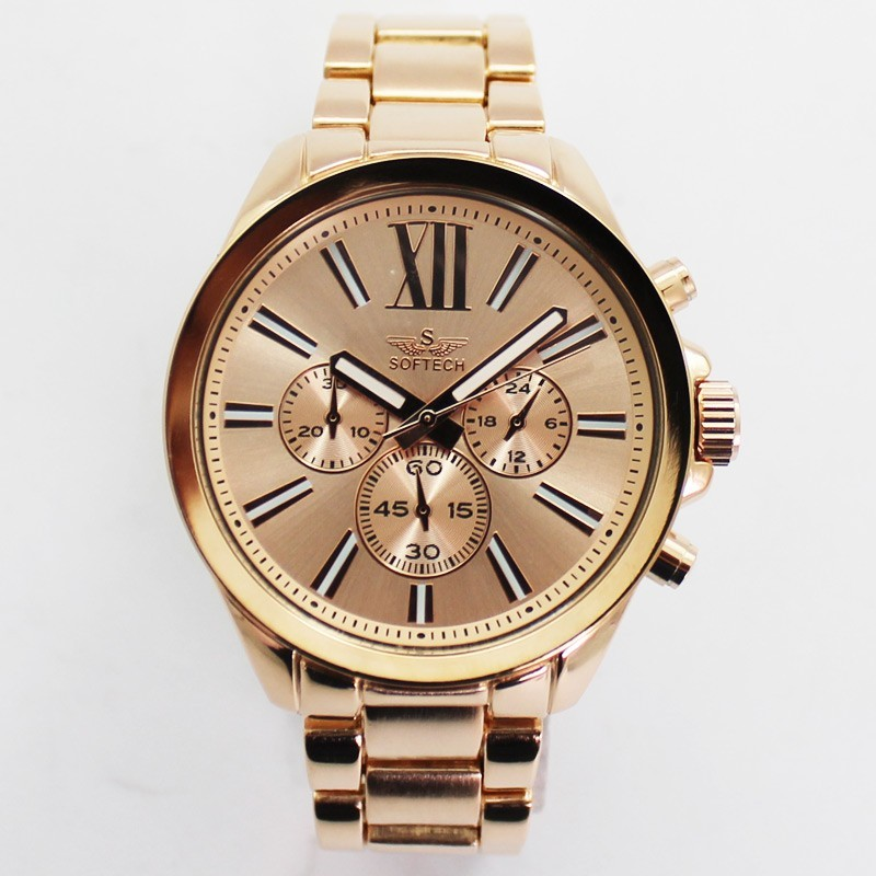 Softech Mens Roman Numerical Dial Watch - Rose Gold