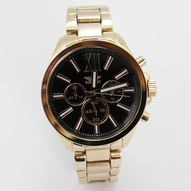 Softech Mens Roman Numerical Dial Watch - Gold & Black