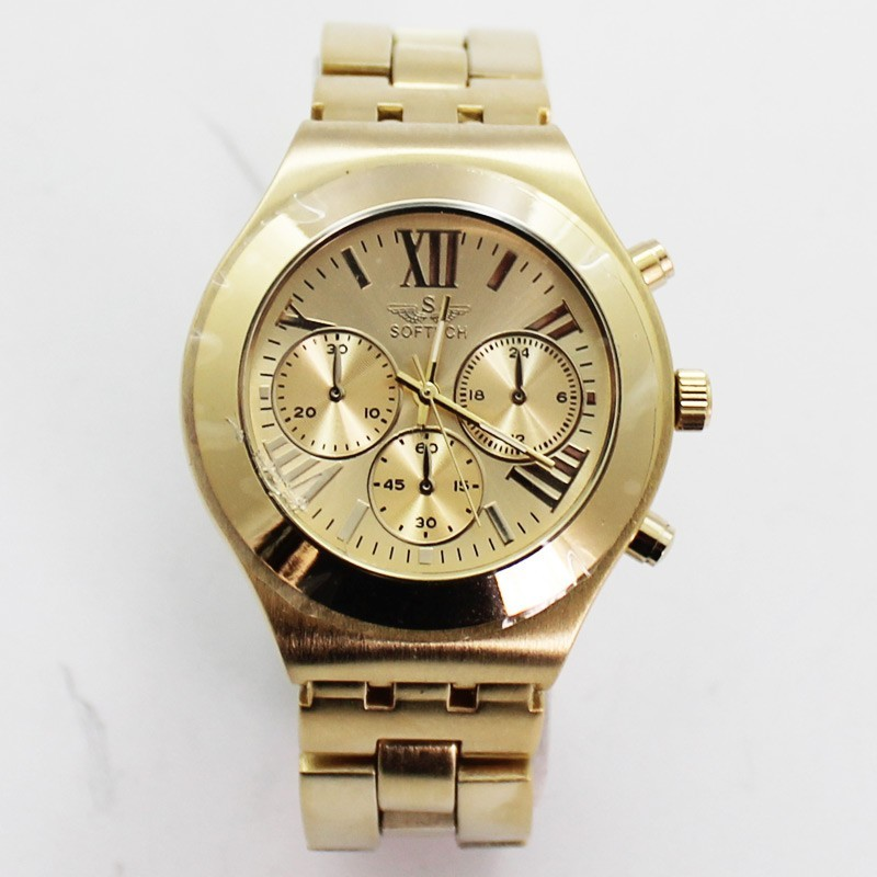 Softech Mens Roman Numerical Dial Watch - Gold