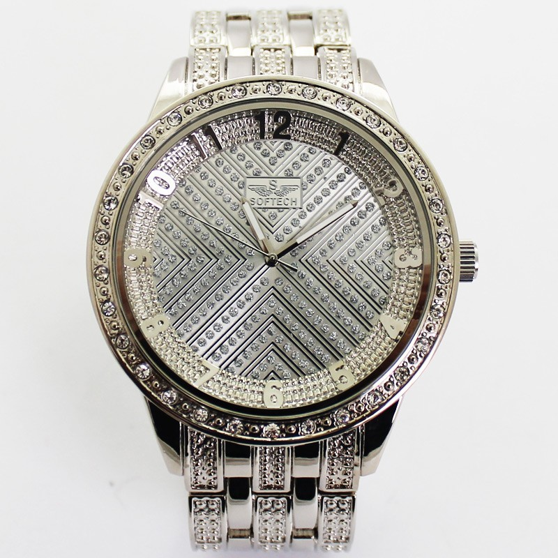 Softech Mens Crystal Encrusted Watch - Silver With Silver Dial