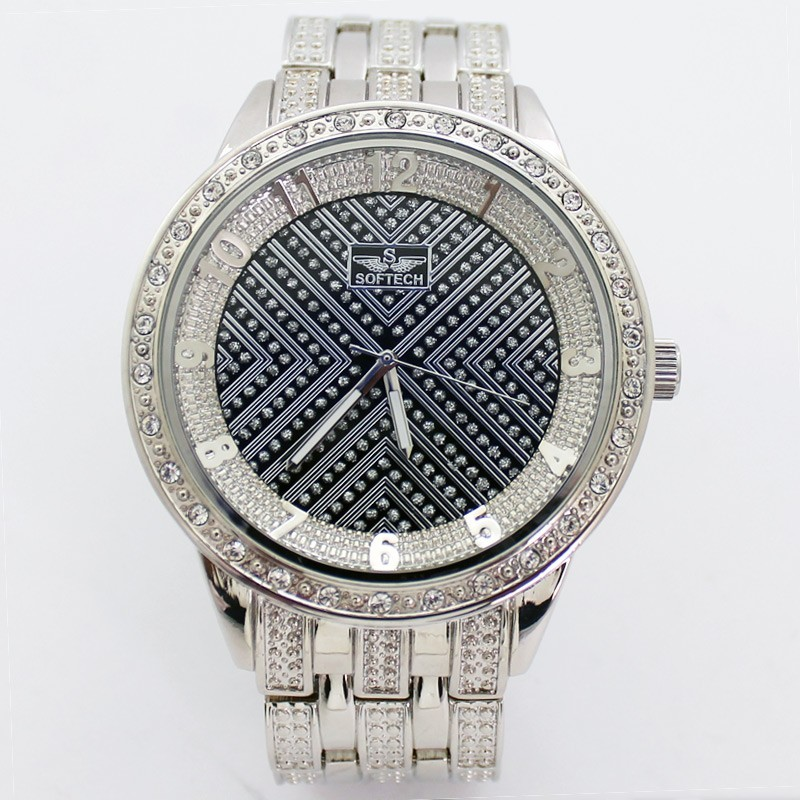 Softech Mens Crystal Encrusted Watch - Silver with Black Dial