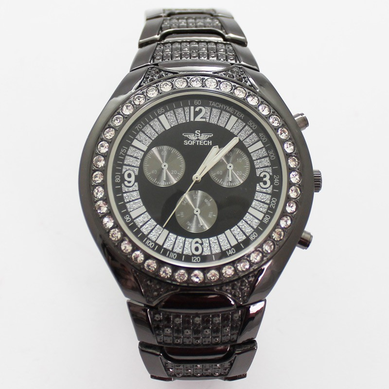 Softech 3 Dial Mens Watches - Black