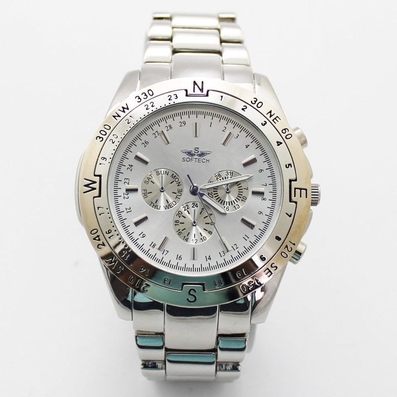 Softech 3 Dial Mens Watches - Silver