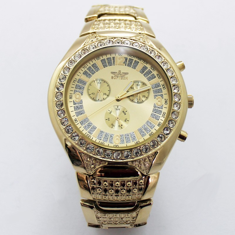 Softech 3 Dial Mens Watches - Gold