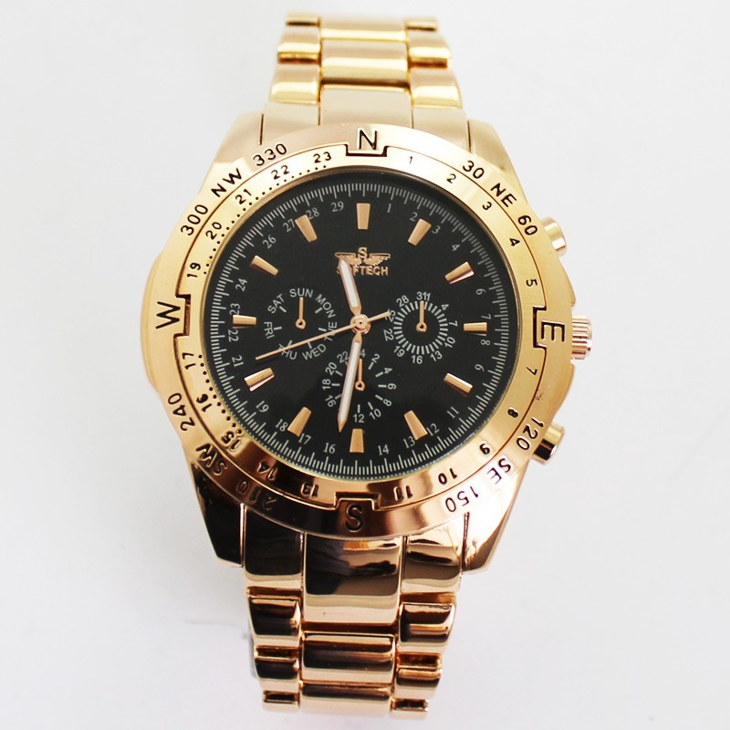 Softech 3 Dial Mens Watches - Rose Gold