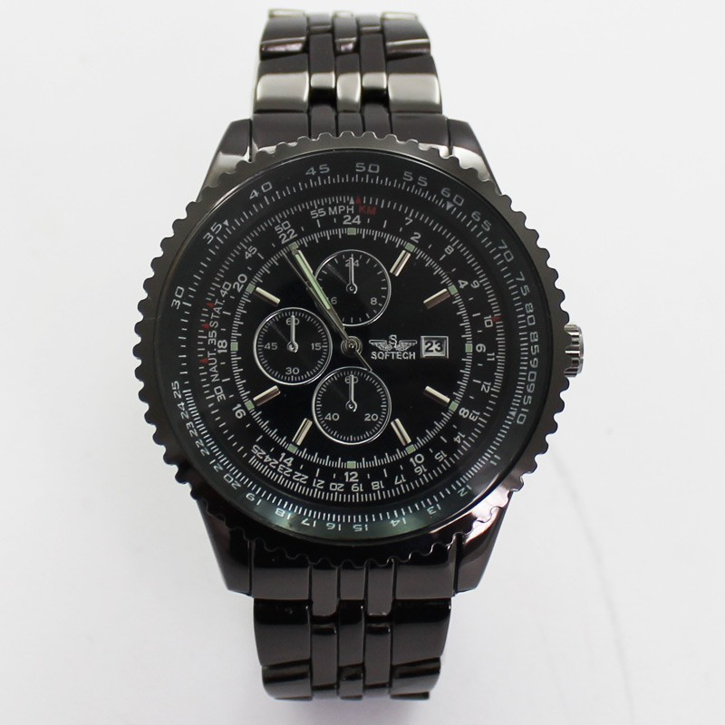 Softech Mens 3 Dial Dummy Design Watch - Black