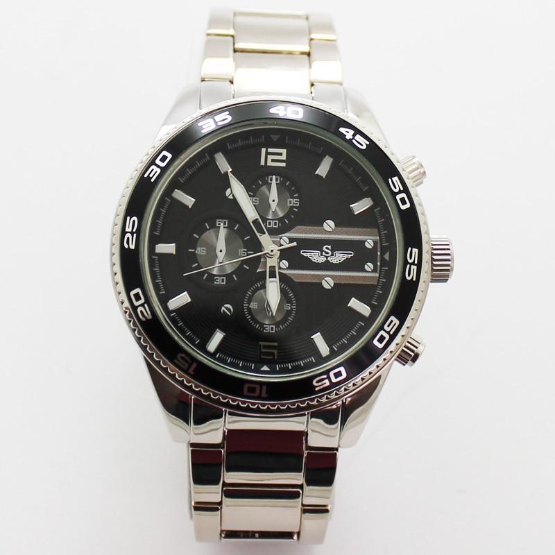 Softech Mens 3 Dial Design Watch - Silver & Black