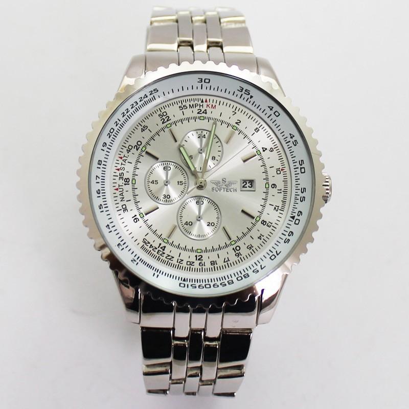 Softech Mens 3 Dial Dummy Design Watch - Silver