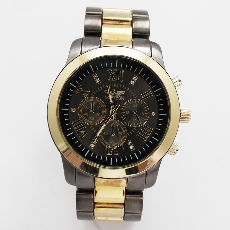 Softech Mens 3 Dial Dummy Design Watch - Gold & Grey