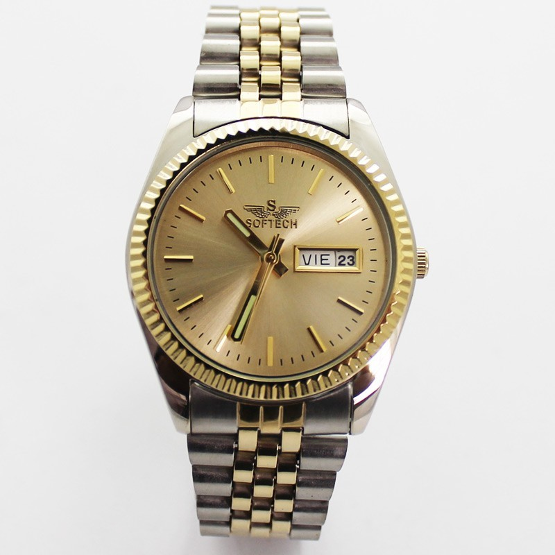 Softech Mens Classic Style Watch - Silver & Gold