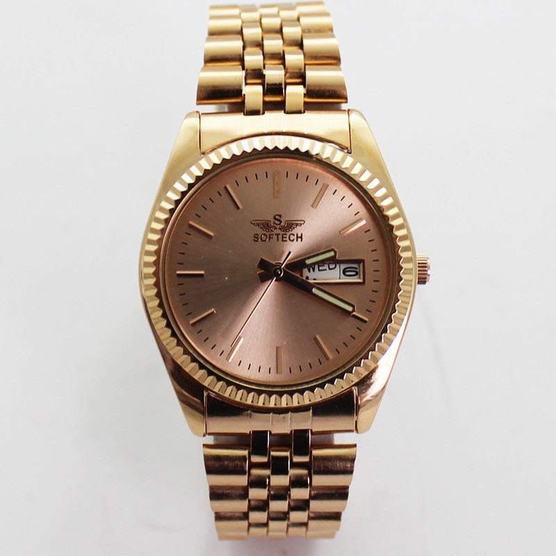 Softech Mens Classic Style Watch - Rose Gold