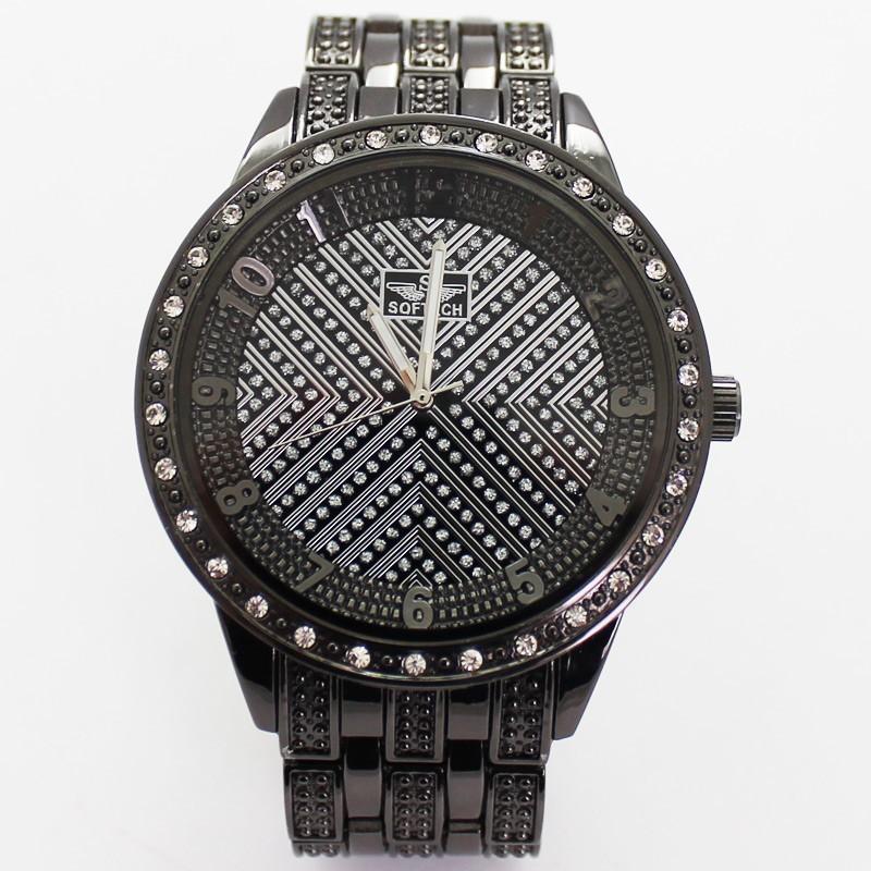 Softech Mens Crystal Encrusted Watch - Black