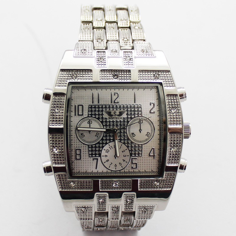 Softech Mens Crystal Encrusted Watch - Silver