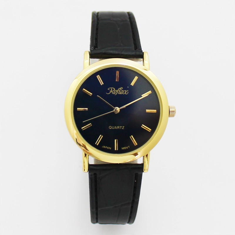 Reflex Gents Watch With Black PU Strap - Gold