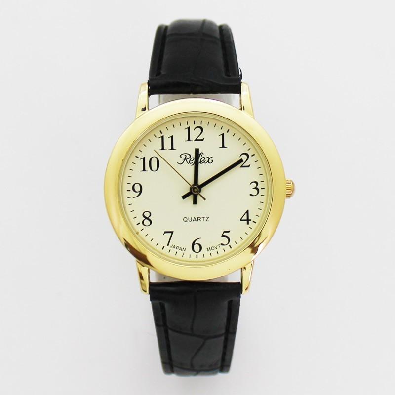 Reflex Gents Watch With Black PU Strap - Gold