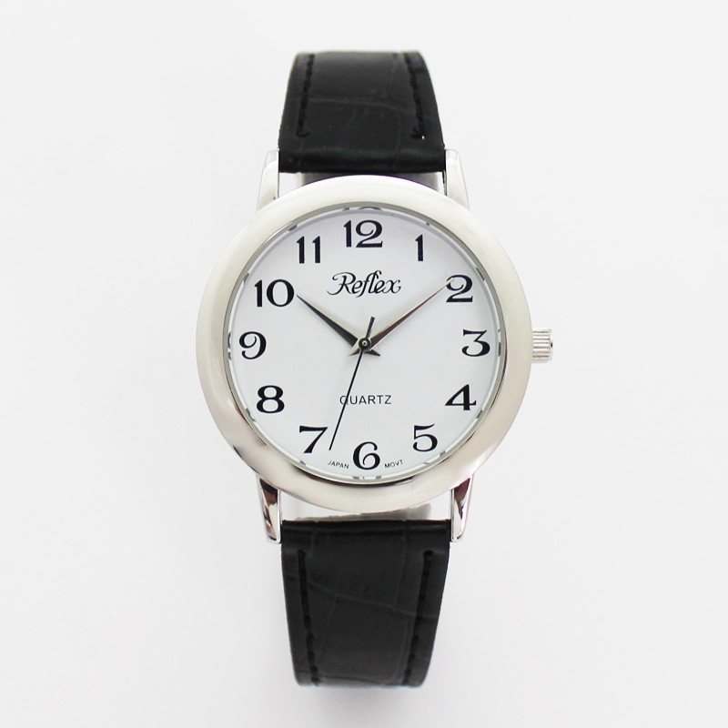 Reflex Gents Watch With Black PU Strap - Silver