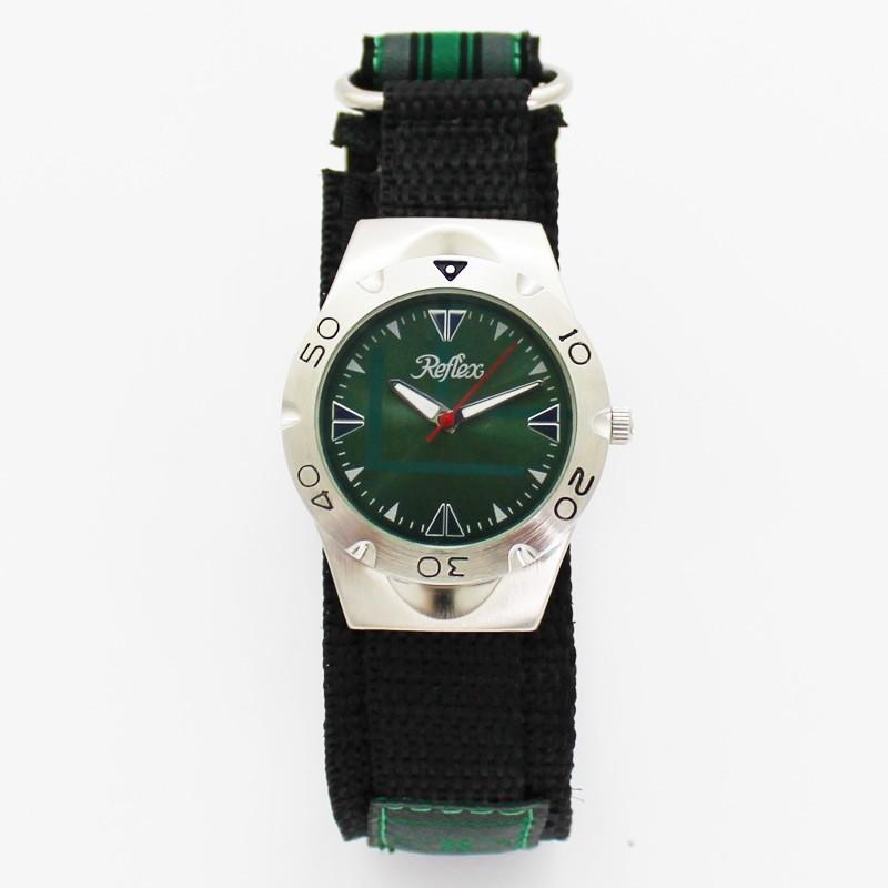 Reflex Gents Nylon Velcro Strap Watch - Green Dial