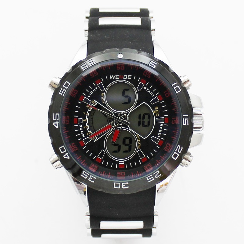 Wedge Mens Large Sports Watch - Black & Red