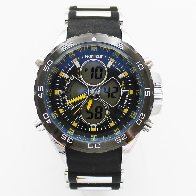 Wedge Mens Large Sports Watch - Black & Yellow