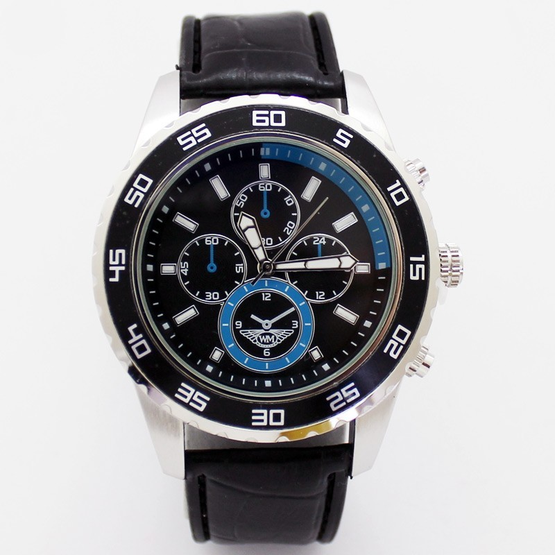 Wingmaster Mens Polished Round Watch - Black