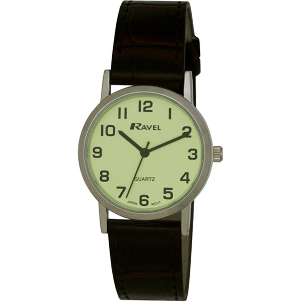 Ravel Mens Polished Round Watch - Silver with Brown Strap