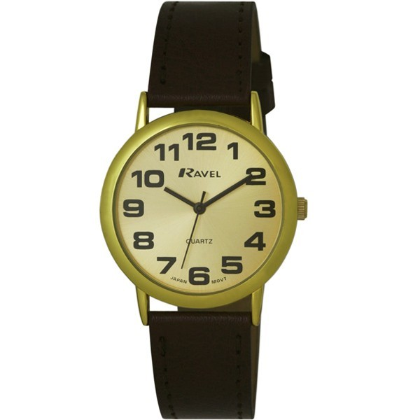 Ravel Mens Polished Round Watch - Gold with Brown Strap