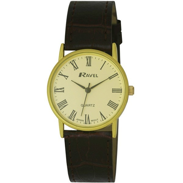 Ravel Mens Polished Round Watch - Gold and Brown Strap