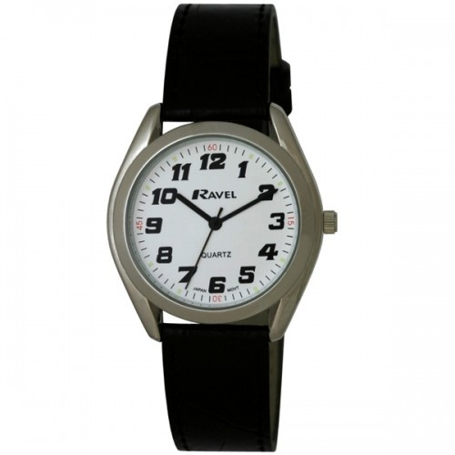 Ravel Mens Polished Round Retro Style Watch - Silver