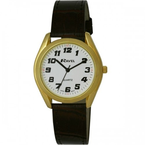 Ravel Mens Polished Round Retro Style Watch - Gold with Brown Strap