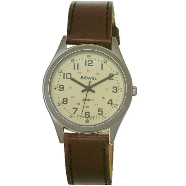 Ravel Mens Polished Round Fashion Watch - Silver with Brown Strap