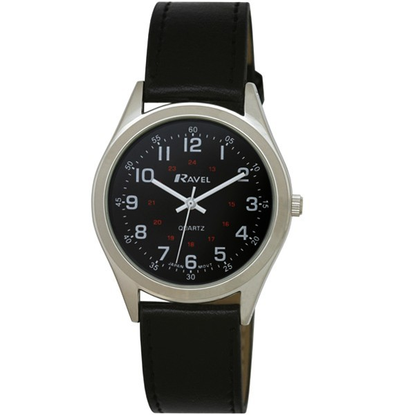 Ravel Mens Polished Round Fashion Watch - Silver with Black Strap