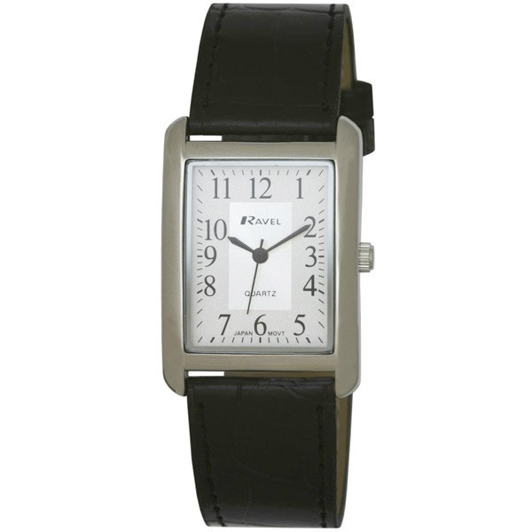 Ravel Mens Polished Rectangular Watch - Silver