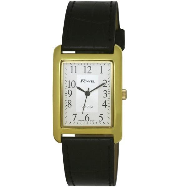 Ravel Mens Polished Rectangular Watch - Gold