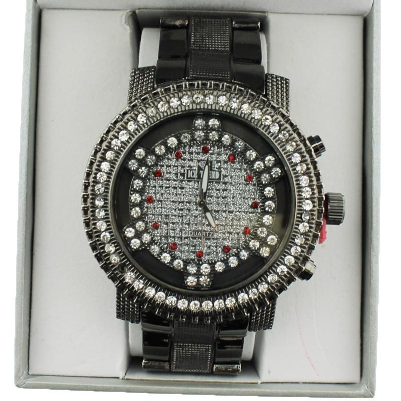 Ice Trend Wrist Watch Black Metallic Multi Red & White Diamond Border