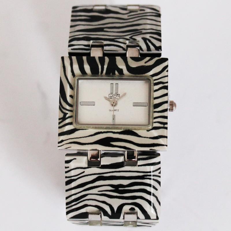 Eton Ladies Zebra Print Rectangular Watch