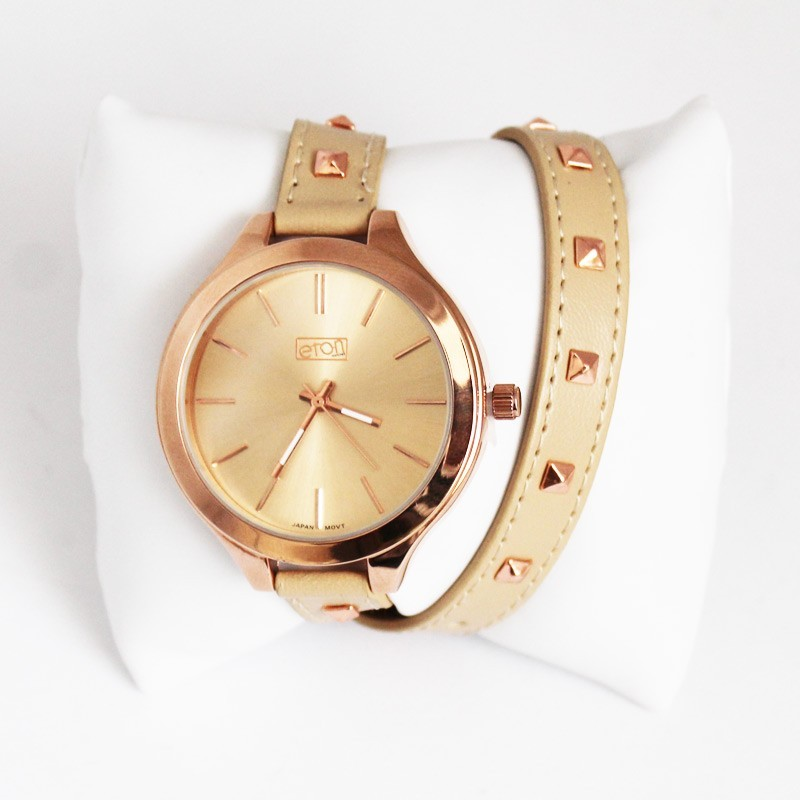 Eton Ladies Rose Gold Studded Watch - Cream