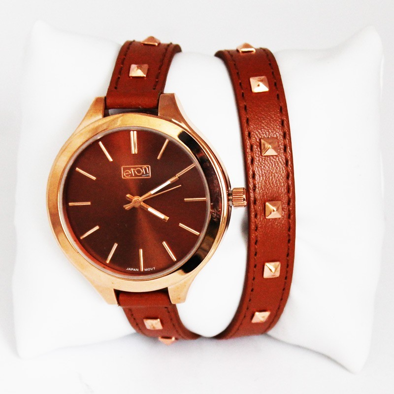 Eton Ladies Rose Gold Studded Watch - Tan