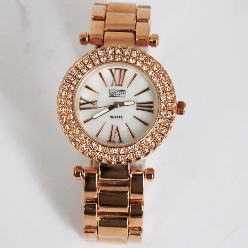 Eton Ladies Rose Gold 2 Row Diamante Watch