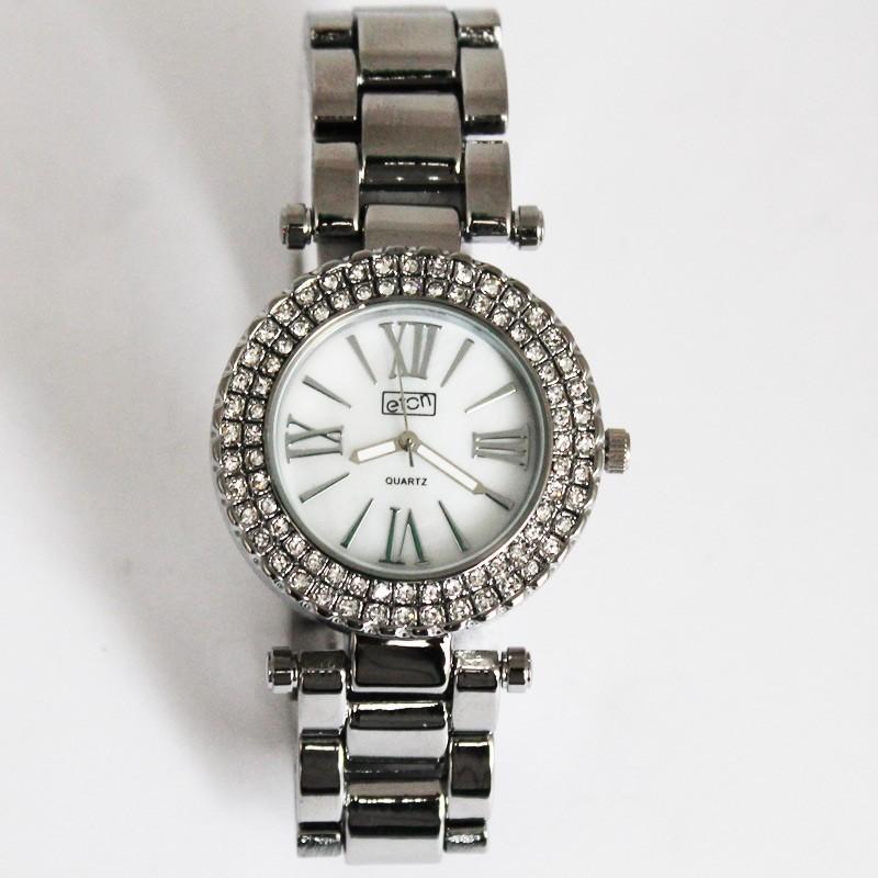 Eton Ladies 2 Row Diamante Watch - Chrome
