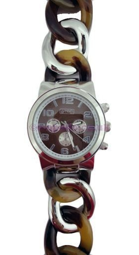 Eton Mixed Links Belt Watch - Brown & Silver