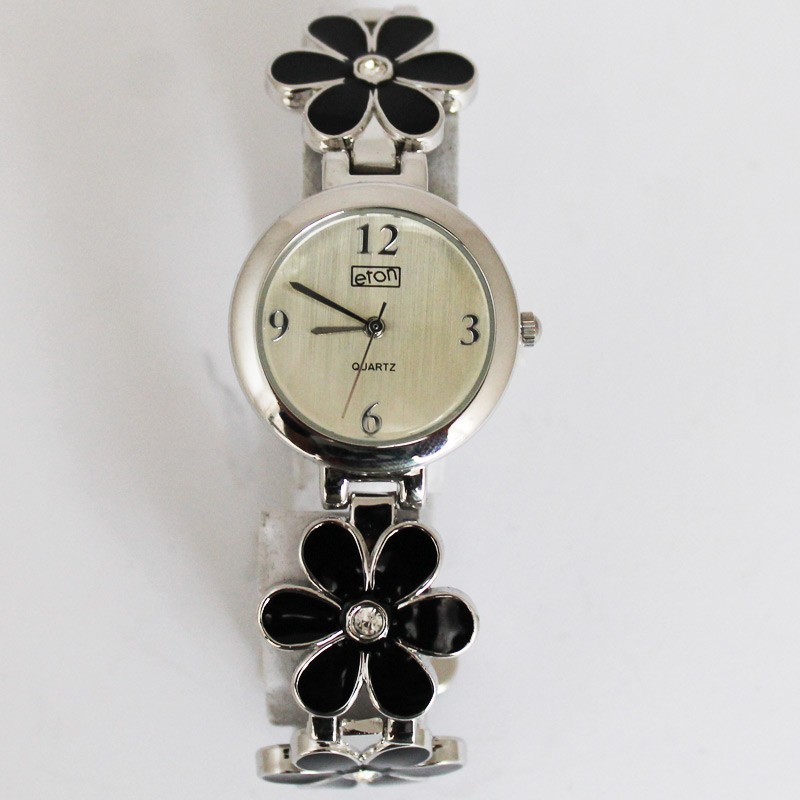 Eton Ladies Metal Flower Watch - Black