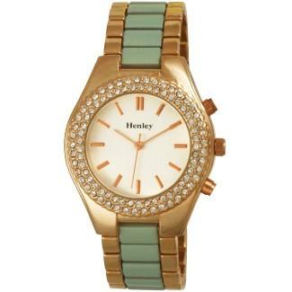 Henley Ladies Coloured Enamelled Bracelet Watch In Mint