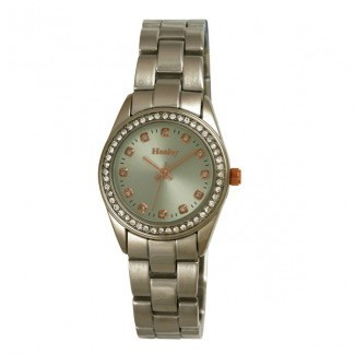 Henley Ladies Polished Bracelet Diamante Watch Green