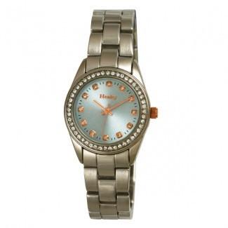 Henley Ladies Polished Bracelet Diamante Watch Blue