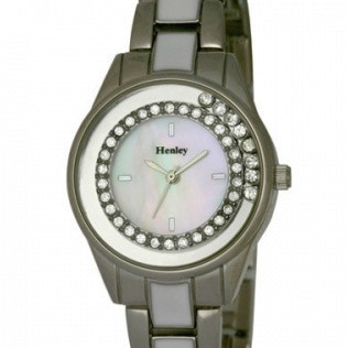 Henley Ladies Floating Diamante Bracelet Watch - Silver