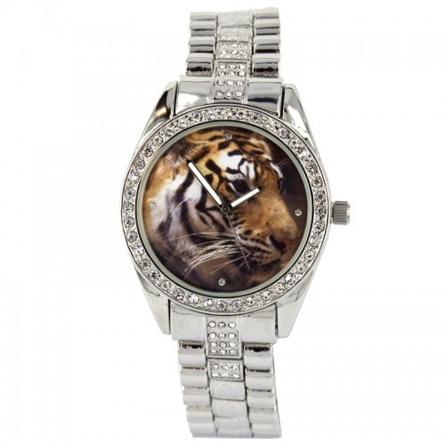 NY London Ladies Tiger Background Watch - Silver