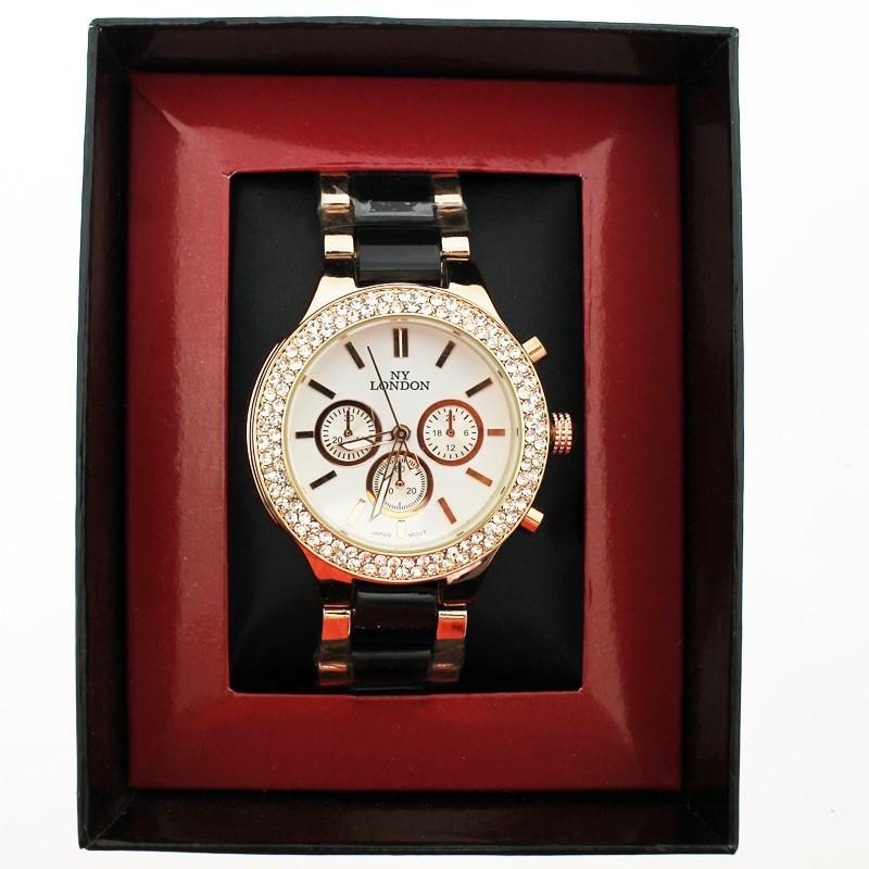 NY London Ladies Crystal Stone Wrist Watch Black