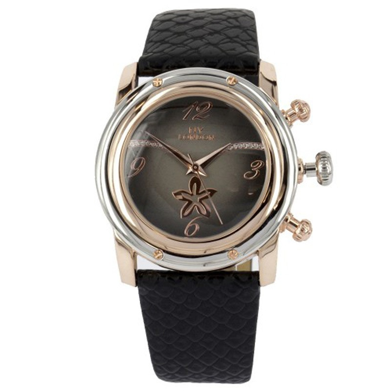 NY London Ladies Leather Band Wrist Watch Black